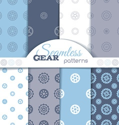 set of seamless gear patterns vector image