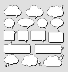 set stickers speech bubbles blank empty vector image