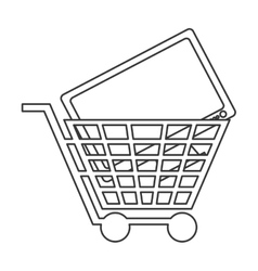 shopping cart with computer monitor icon vector image