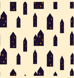 spooky houses seamless pattern vector image