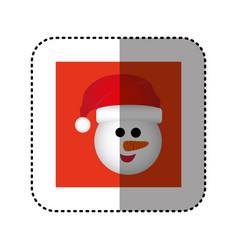 Sticker red square frame with cartoon snowman vector