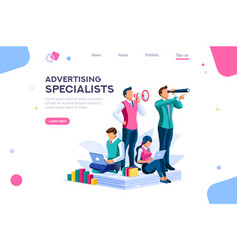Strategy and analysis landing page vector