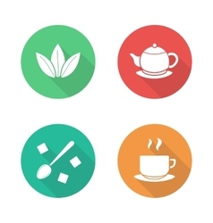 Tea flat design icons set vector image