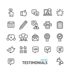 Testimonial feedback and review signs black thin vector