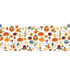 Thanksgiving seamless border autumn food vector