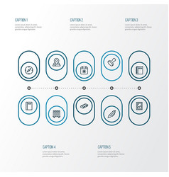 Tool icons line style set with stamp eraser vector