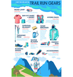 Trail run gears infographic vector