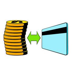 Transfer cash to card icon cartoon vector