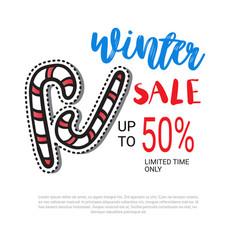 winter sale flyer design candy cane decoration vector image