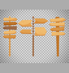 wooden way direction signs vector image