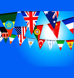 world bunting flags over sunny sky vector image