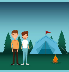 young couple in the camping zone vector image