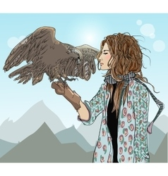 Young girl with bird prey vector