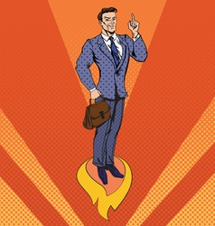 Businessman in pop art style star up concept vector