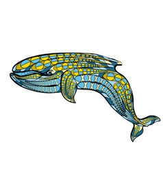 Ethnic blue whale vector