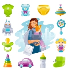 Family shopping icon set with young mother baby vector image vector image