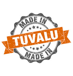 made in tuvalu round seal vector image vector image