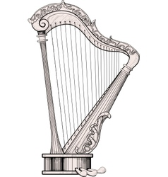 decorated harp vector image vector image