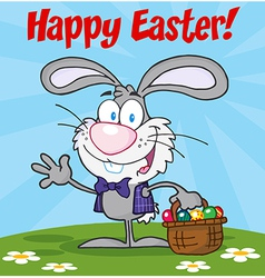 Gray Happy Easter Bunny Carrying A Basket Of Eggs vector image vector image