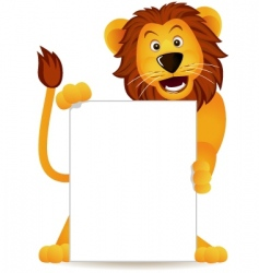 lion and banner vector image vector image