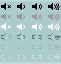 loud or speaker white grey black icon loud or vector image vector image