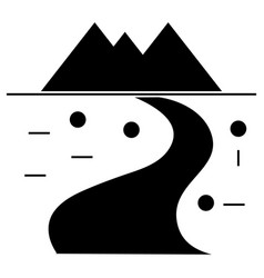 road winding to mountains icon vector image