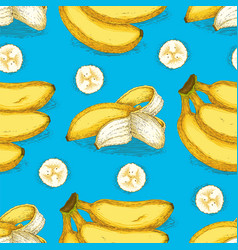 seamless pattern with ripe yellow banana vector image