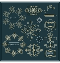 Set logos elegant ornament gold lines vector image