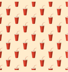 soda cup - seamless pattern vector image