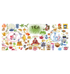 colorful drawing doodle tea elements collection vector image vector image