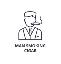 man smoking cigar line icon outline sign linear vector image vector image