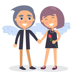 teenager couple in evening dress at valentines day vector image vector image
