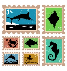 animal stamps vector image vector image