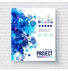 Blue design Business Report with charts vector image