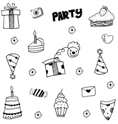 Element Party doodle with hand draw vector image