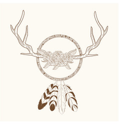free spirit dream catcher horns rustic vector image