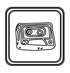 monochrome contour with button of cassette tape vector image