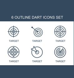 6 dart icons vector