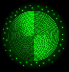 abstract green neon round glow light effect vector image