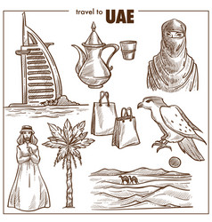 arab emirates travel sketch landmarks vector image