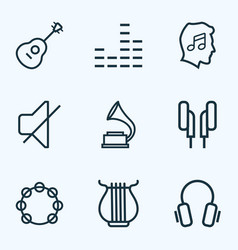 Audio outlines set collection of stringed vector