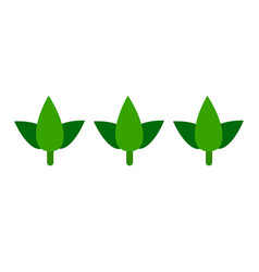 Basil leaves in a row flat icon isolated vector