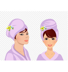 beauty spa face set woman in towel and bathrobe vector image