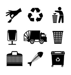 Black garbage icons vector