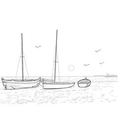 boats and sea vector image