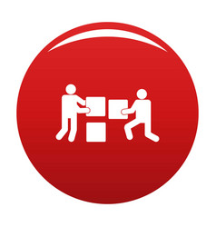 building teamwork icon red vector image