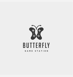 Butterfly game logo design template animal vector
