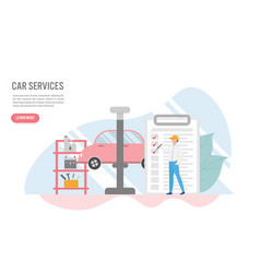 car service concept with charactercreative flat vector image