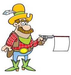 Cartoon cowboy shooting a gun with a sign vector image