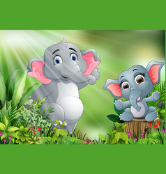 cartoon of the nature scene with elephant playing vector image